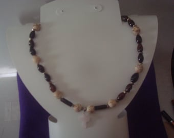 Black Obsidian and white Magnesite Choker CROSS Necklace.