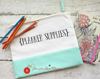 Personalized Canvas Leather Planner Bag, Personalized Pencil Case, Planner Supplies, Pencil Pouch, Gift for Mom, gift for planners, zippered