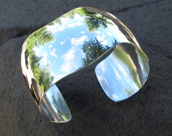 Sterling Silver Cuff, Soft Curve, Smooth and Shiny