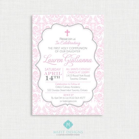 Printable Baptism Invitation- Girls Baptism Invitation - Baby Dedication, First Communion, Confirmation, Christening - Printable invitation