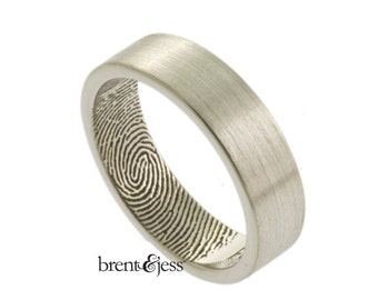 Personalized Fingerprint Ring, Wide Handcrafted Fingerprint Wedding Ring with Tip Print on the Inside in Sterling Silver Custom Wedding band