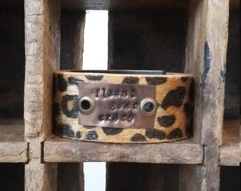 Cuff- Bracelet - Handstamped - Flaunt your Crazy - Cheetah Print - Belt Cuff