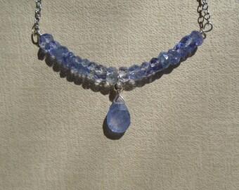 Tanzanite Necklace, December Birthstone, Dainty Beaded Bar Necklace, Gemstone Necklace, Gemstone Choker, Tanzanite Choker