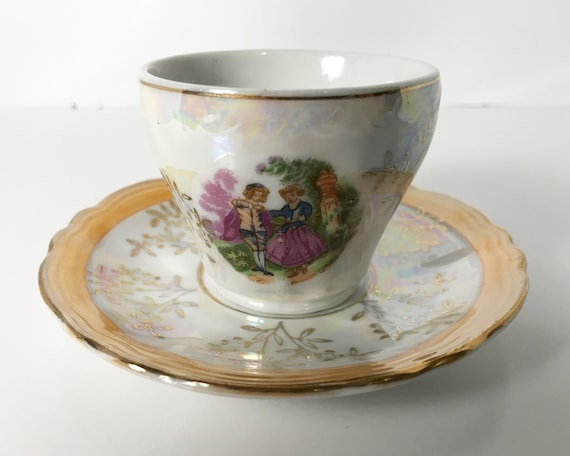Vintage Lusterware Demitasse Little Fragonard-Style Rococo Motif of Romantic Couple