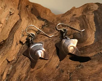 Copper Textured Star Earrings