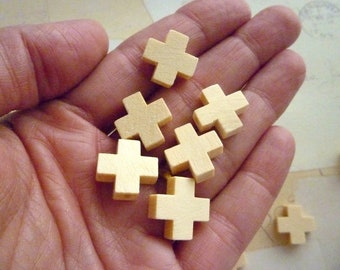 Cross Shaped Wood Beads - Natural - 15mm - Small wooden Cross Beads - Pack of 10