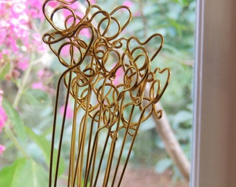 Heart Wire TABLE NUMBER HOLDER Place Card Holders diy Stems Plant Picks Gold Silver Spiral Photo Flat Card Sign Gold Silver Tall Long Copper
