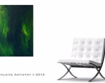 Emerald Rhapsody - Original Acrylic Abstract Painting, 18x24in.