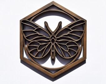 Bronze Resin Butterfly Plaque