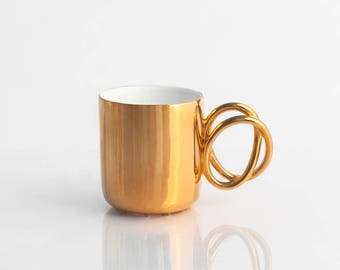 Porcelain cup painted with real gold, ceramic mug for coffee or tea, luxurious handmade gift