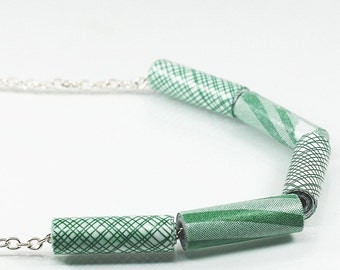 Paper Bead Jewelry- Upcycled Green Security Envelope Paper Bead Necklace, Recycled Junk Mail, Paper Jewelry, Modern Contemporary Jewelry