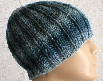 Denim blue striped beanie hat, mens womens knit hat, toque, blue hat, ribbed hat, chemo cap, wool blend hat, ski snowboard hiking skateboard