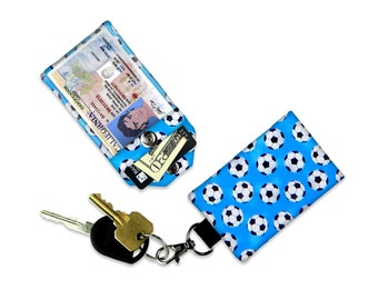 Sports Soccer Ball ID Wallet, Mini Wallet, Lanyard ID Holder, Luggage Tag, Vacation ID Wallet