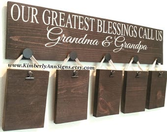 Grandparents sign, Greatest Blessings, Personalized sign , Blessings call me, Grandparent gift, Grandkids sign, Wood sign, Grandparent decor