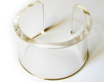 Clear Transparent Lucite resin epoxy acrylic plexiglass bracelet cuff bangle from YoushiDesign