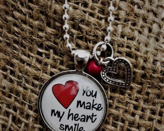 """Pendant Necklace """"You Make My Heart Smile"""""""