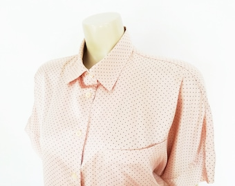Pink Blouse, Pyjama Top, Pink Ladies Shirt, Spotty Top, Polka Dot, Pink Polka Dot, Silky Blouse, Vintage Clothing, Pink Top