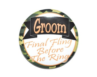 Groom Bachelor Party or stag party pinback button with camp background camouflage groom party