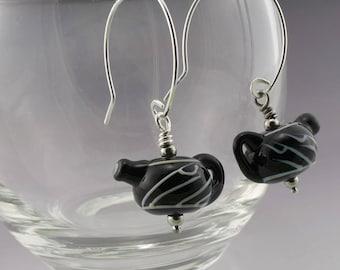 Handmade Jewelry Teapot Earrings Tea Kettle Glass Earrings Teakettle Jewelry Black and White Sterling Silver Heather Behrendt SRA 5143