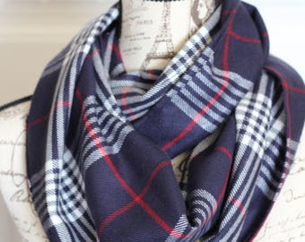 Navy and Red/White Plaid Infinity Scarf