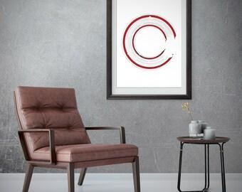 Black red wall art, Red printable art, Scandinavian circle, Red home decor, Circle art, Minimal circle print, Red gallery wall art, Zen art
