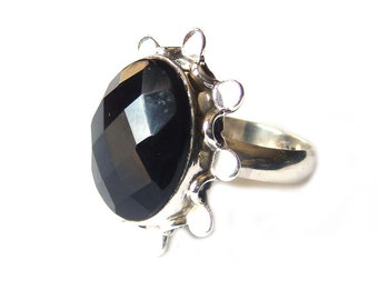 925 Sterling Silver Black Onyx Statement Ring Size 7