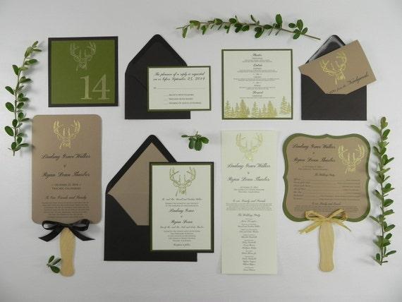 Gold Embossed Wedding Invitations: Gold Embossed Buck Wedding Invitation Stationery Set