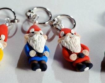Garten Gnome Maschenmarkierer set von 4 Miniatur-Polymer Clay geformt stricken, häkeln Zubehör