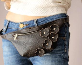 Fanny Pack  Leather Belt Bag  Leather Hip Bag  Dark Brown  Waist Bag Cowhide Leather Festival Belt Leather Fanny Pack Leather Flowers