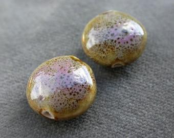 set of 2 large beads ceramic handmade khaki nance purple