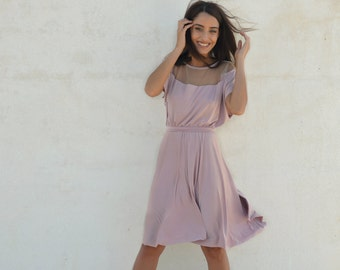 Light pink bridesmaid dress ,full circle knee length bridesmaid dress