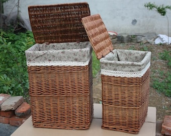 Cane makes up, wicker basket  ,The laundry basket ,Clothes basket, Handwoven Laundry Basket with Lid, square basket, Make to order