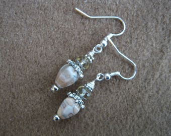 Brecciated Jasper Bead Earrings, Crystals and Silver Beads, Silver Earwires