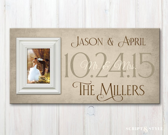 Personalized Wedding Wood Picture Frame with Wedding Date