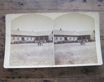 Antique Stereoscope by Charles E Emery 1880s, Public School Silver Cliff Colorado Stereo Card