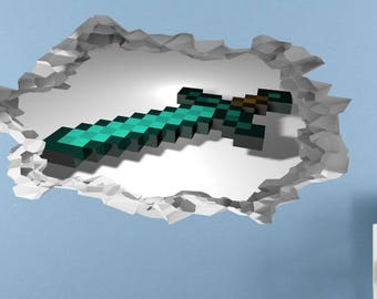 Sword Pixel Block 3d Wall Sticker, Decal