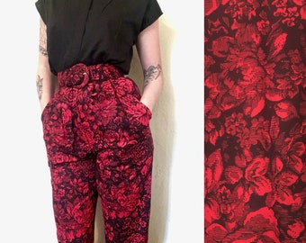 80's Chic Red Floral Jumpsuit with Black Top