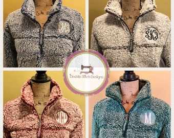 CLEARANCE! Ready to ship, Sherpa pullover, monogrammed sherpa, sherpa quarterzip, plus size available, unisex sherpa jacket,