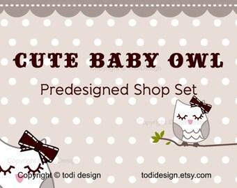 Cute Baby Owl Premade Etsy shop banner design