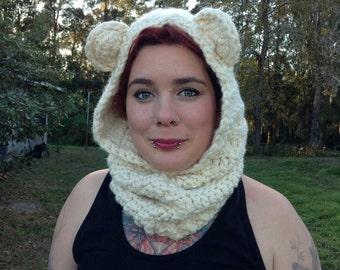 Bear Hooded Cowl - Crochet Bear Hood - Adult Hooded Bear Cowl - Hooded Bear Scarf