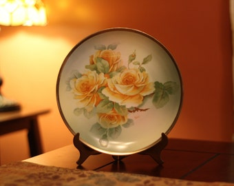 O & E.G. Royal Austria Hand Painted Yellow Rose Plate