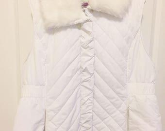 Puffy Vest - Faux Fur Collar - White