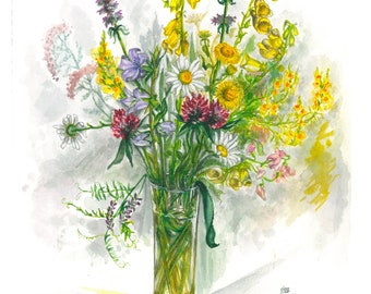 Wild flowers in a tall glass