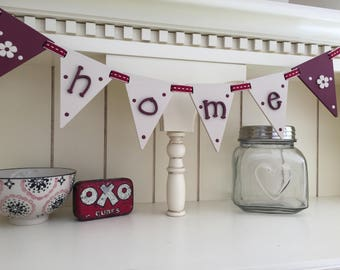 Wooden 'home' bunting