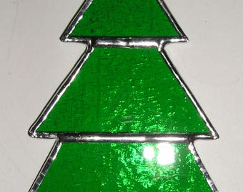 Stained Glass Christmas Tree, Suncatcher, Handmade in England