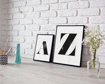Personalised letter print - monogram - alphabet - house print- living room print - monochrome print - typography print - type print