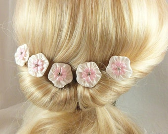white silk flowers hair pins Pink Hearts, set of 5, hair, hair jewelry, celebrations, ceremony, marriage made in France