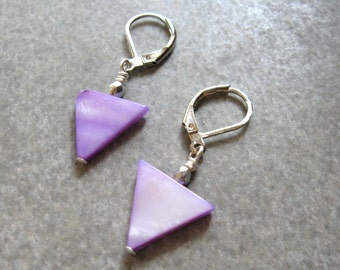purple triangle triangle earrings geometric earrings modern earrings dangle earrings purple dangle silver earrings, Gift for Her sale