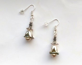 Tulip Earrings, Floral Earrings, Pearl Earrings, Beaded Earring, Mother's Day, Silver Plated Earrings- Gift for Her by enchantedbeas on Etsy