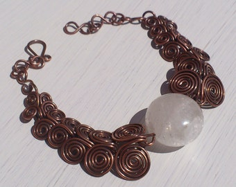 Clear White Rock Quartz Gemstone Egyptian Coil Wire-wrapped Link Bracelet